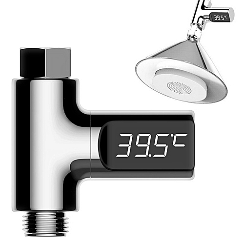 LED Display Water Shower Thermometer Faucet -Silver