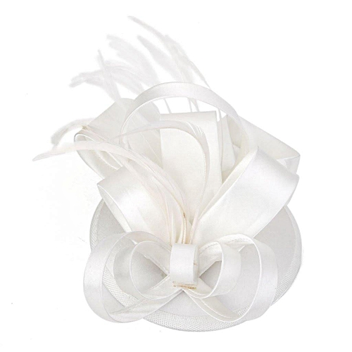 Elegant Women Feather Satin Cocktail Sinamay Fascinator Party Hair Clip Bridal Headwear,Creamy White