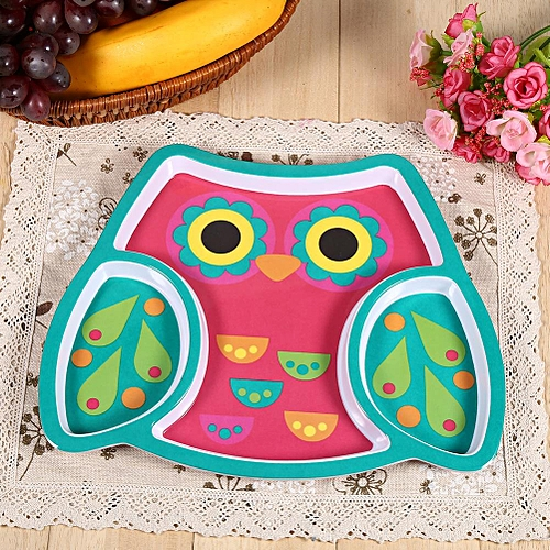 Cute Resin Baby Kids Dishes Feeding Tableware Dinning Table Food Tray Plate Owl