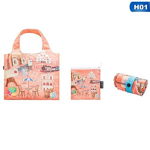 Eco Friendly Shopping Bags Waterproof Travel Custom Reusable Handbag Women Shoulder Cloth Pouch Foldable H01