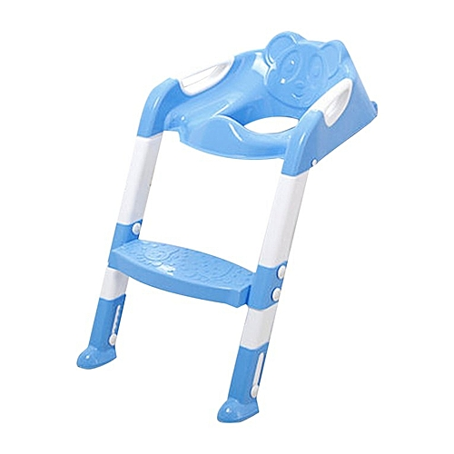 Foldable Children Potty Seat With Ladder Cover PP Toilet Adjustable Chair Blue