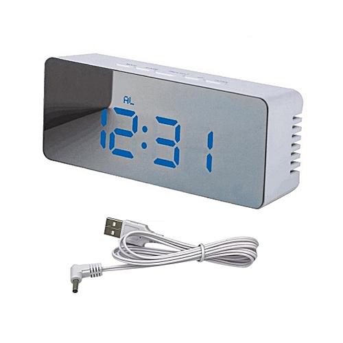 Mirror Alarm Clock Rectangle LED Battery