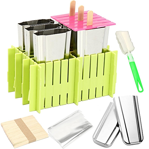 6pcs Stainless Steel Molds Ice Lolly Popsicle Ice Cream Stick Holder Mould DIY