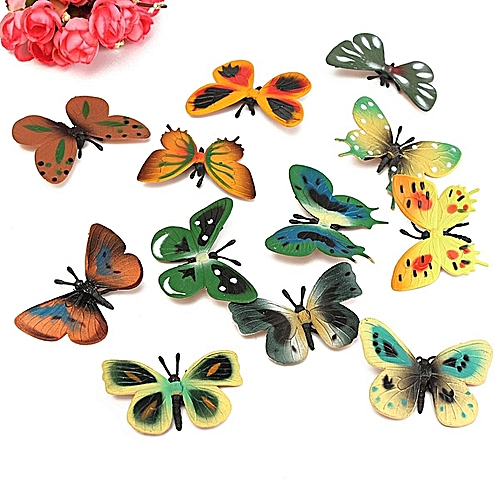 12PCS Plastic Butterfly Bug Insect Animal Figures Kids Party Bag Fillers Toy NEW