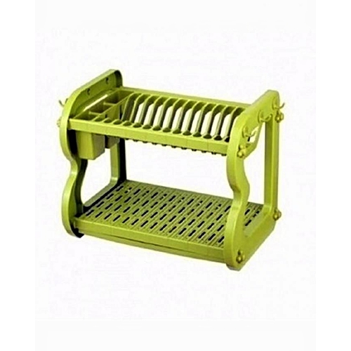 2 Layer Plastic Dish Rack – Lemon Green