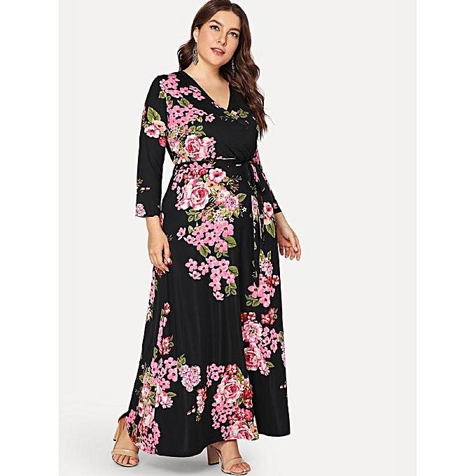 f53d915b1ef4e AFankara Plus Size Floral Printed Party Maxi Dress - Black | Jumia NG