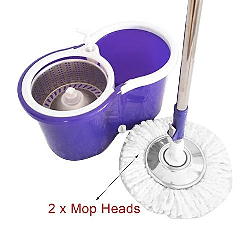 Home-360 Degree Rotating Microfiber Mop Head Kitchen Bathroom Cleaning Magic Mop Purple