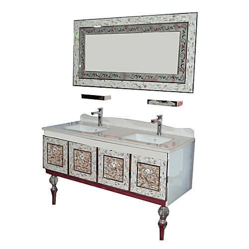 DOUBLE WHITE GOLDEN CABINET WITH MIRROR