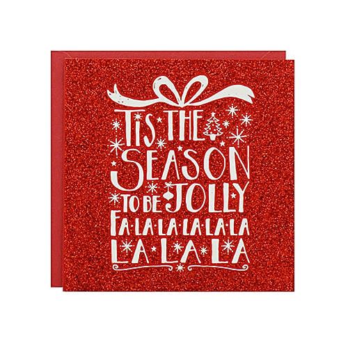 8-Pack Red Glitter Jolly Luxury Christmas Cards