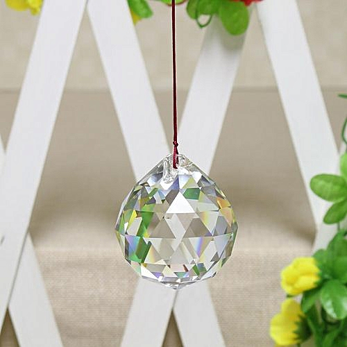 """FENG SHUI HANGING CRYSTAL BALL 2""""50mm Sphere Prism Rainbow Sun Catcher Clear"""