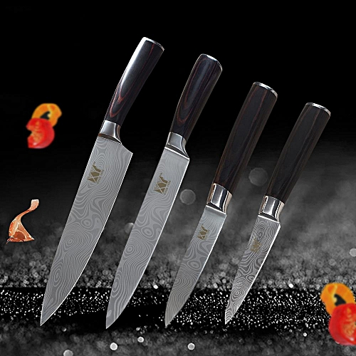 4Pcs XYJ Kitchen 7Cr17 Utility Chef Slicing Stainless Steel Kn*fe Set Paring Utility Chef Slicing Kn*fe Color Wood Handle Cooking Kn*ves Kitchenware