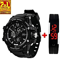 Multifunction Chronograph Analog Digital Sports Watch + Free Band Which Displays Date