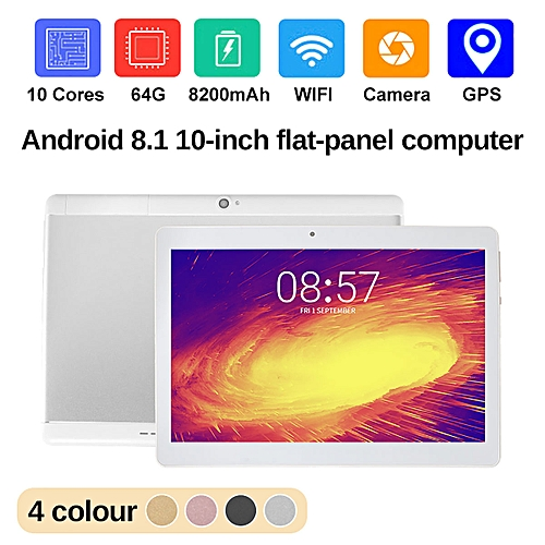 NEW 10.1'' Tablet PC Android 8.0 Octa Core 64GB 10 Inch HD WIFI 2 SIM 3G Phablet-Silver