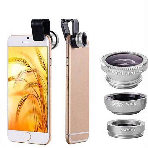 Mobile Phone Lenses Kit With Clip Fish Eye Lens - Black