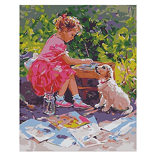 Little Girl Figure And Animal Dog Scenery Pattern Wall Art Canvas Decoration Oil Painting Home Decoration Wall Picture Gift