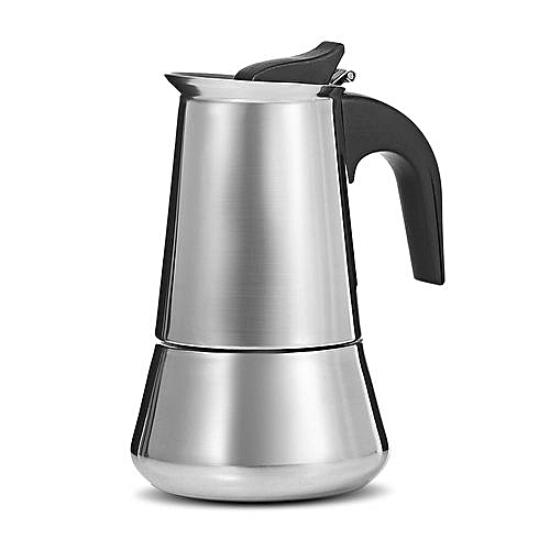 Stainless Steel Coffee Pot Stovetop Espresso Maker - Silver