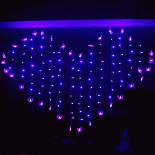 128 led heart butterfly led light christmas lights wedding party lantern lamp led string xmas valentine decoration purple eu plug discount coupons
