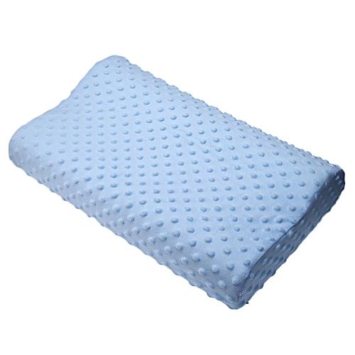 Slow Rebound Memory Foam Orthopedic Latex Neck Pillow - Light Blue