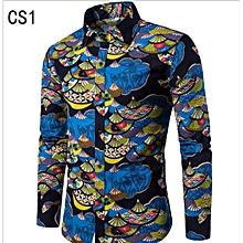 ec1eec5441090e Men  039 s Slim Casual Linen Long Sleeve Shirt Flower Shirt