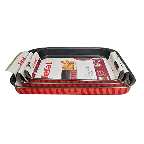 3 Sets Of Non Stick Baking Pans : :25x19cm, 31x24cm And 37x27cm