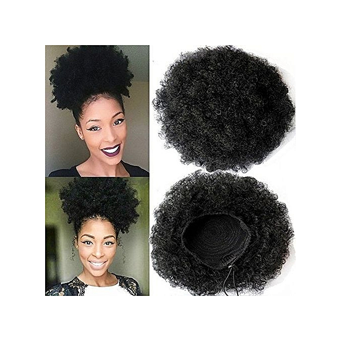 Ponytails Human Hair Weaves Mrs Hair High Puff Afro Curly Wig Ponytail 6 8 Drawstring Short Afro Kinky Pony Tail Clip In Hair Extensions