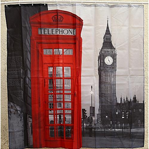 Creative London Big Ben Pattern Shower Curtain Polyester Waterproof Bath Decor