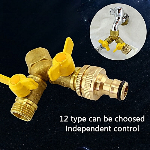 2 Way Garden Hose Splitter Y Ball Valve Connector Outdoor Faucet Sprinkler Drip Irrigation System