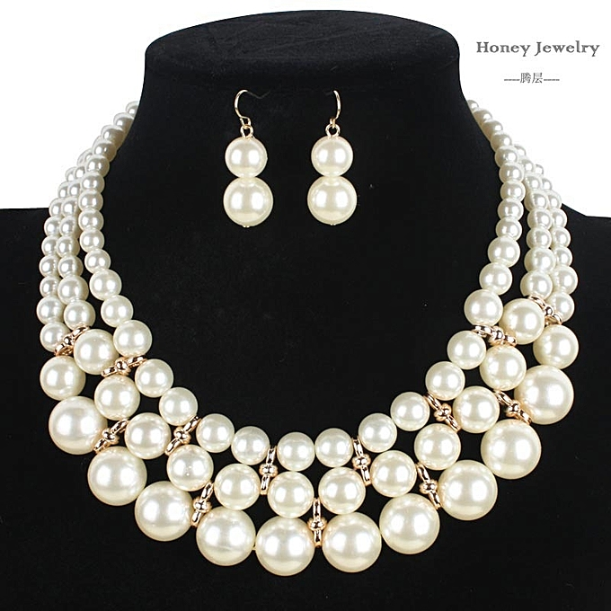 a33b2e0670e Yingwoo Necklaces Hot Sale Large Faux Pearl Necklace And Earring Set Multi  Layer Necklace New Fashion Statement Necklace Popular Women Bohemian Party  ...