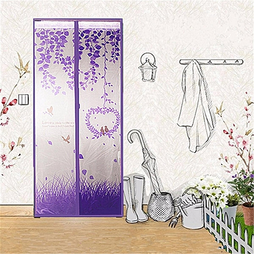 Magic Mesh Magnetic Screen Door Mosquito Net Curtain Protect From Insects Purple