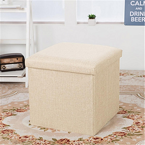 Cube Ottoman Pouffe Storage Box Folding Lounge Sofa Ottoman Seat Footstools New#Beige