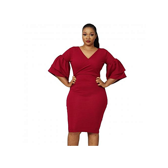 f98ac33dd1cb Virtue Clothier Jasmine Bell Sleeve Dress - WIne