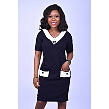 4a6aa7ea3b Navy Blue Shift Dress With Pocket And Button Detail