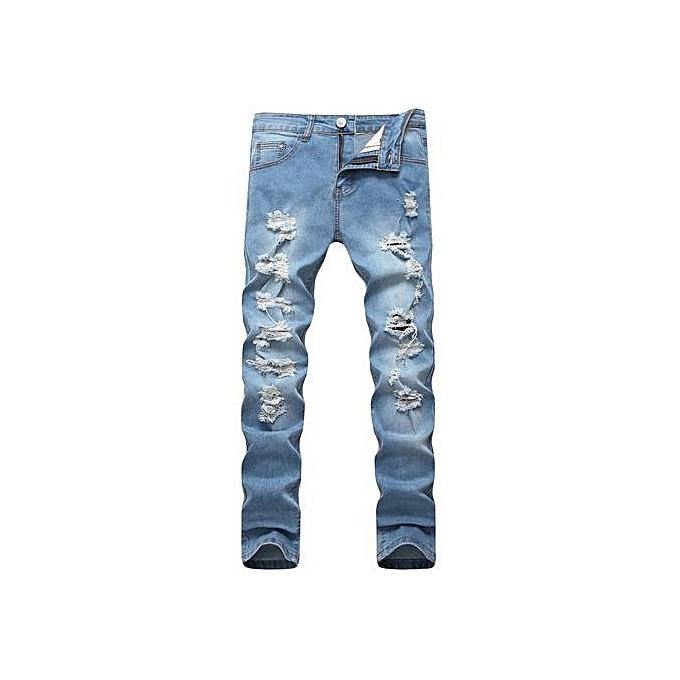 ed4bafa60f9 Men Biker Jeans Ripped Denim Motorcycle Pant Classic Rap Hip Hop Skinny  Casual Winter Stretch Jeans