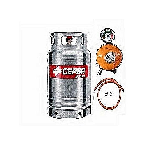 CEPSA STAINLESS 12.5KG GAS CYLINDER+HOSE,CLIP&METERREGULATOR