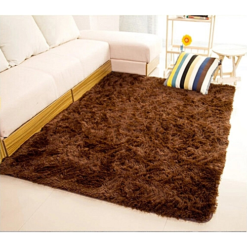 Shaggy Anti-skid Carpets Rugs Floor Mat/Cover 80x120cm (Brown) (MY)