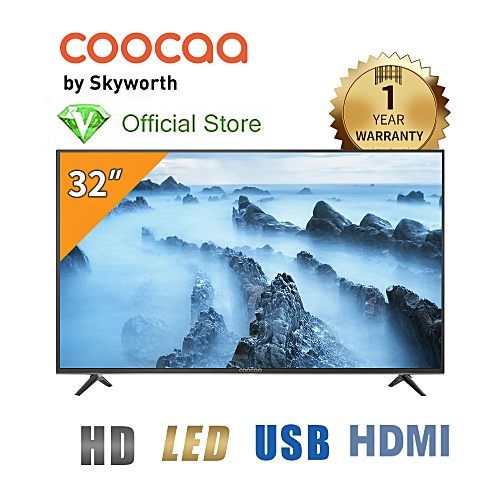Coocaa 32 Inch LED With Stereo Audio (1366*768) Television - Black - Made By Skyworth