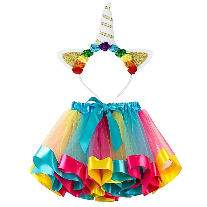 3259aab65d Little Girls Layered Rainbow Tutu Skirts Unicorn Horn Flower Headband  Birthday Party Costume