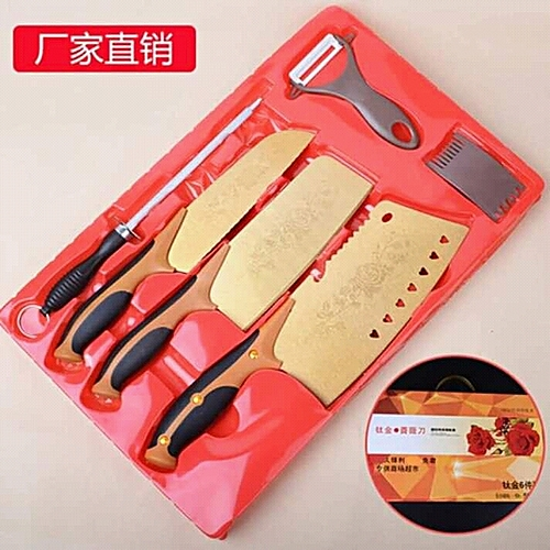 Golden 6pcs Titanium Knife Set+ Knife Sharpner