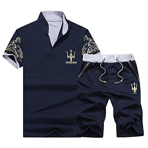 2 Piece Set Fashion Men's Short Sleeve Shorts-Dark Blue