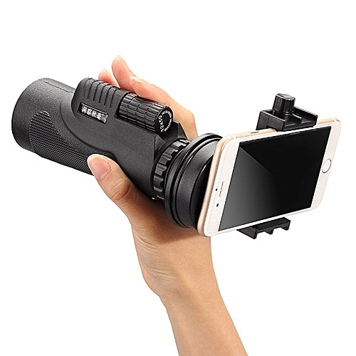 50x Zoom HD Optical Monocular Telescope Lens Tripod - Black