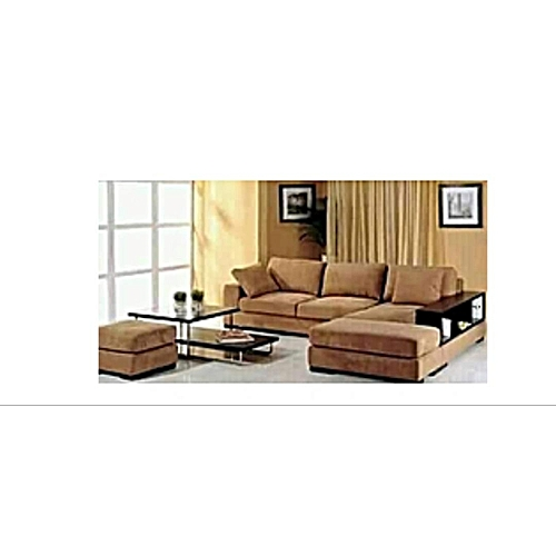 L-shaped Deep Cream Sofa . Order Now And Get OTTOMAN Free (DELIVERY ONLY IN LAGOS)