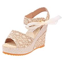 Elegant Sandals Women Wedges Shoes Fashion Platform High Heels Sandals  Women Open Toe Platform Wedges Straw f51956cc8c1f
