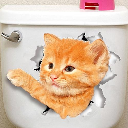3D Cartoon Toilet Seat Decals Broken Wall Sticker DIY Creative Vinyl Mural Art Removable Bathroom Decorations Style:ZYPA-14150-N