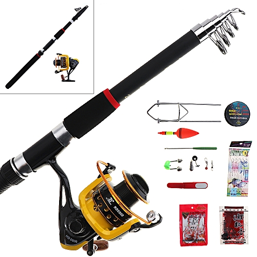 66169ebb90b Epath 15pcs 2.7m Fishing Rod Reel Combos Full Kit Telescopic Spinning Pole  Lure Line Hook Track Tool Set For Ocean Fishing