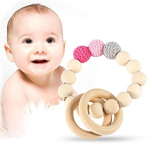 Handmade Natural Wooden Baby Teether Bracelet Crochet Beads Teething Ring Infant Toy Gift #6