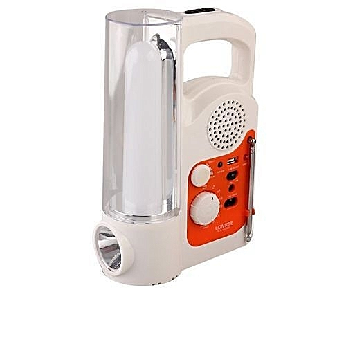 Rechargeable Light And Radio- White