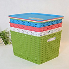 Storage Container, Plastic Wicker Basket With Lid Cover (3 Pieces)