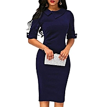 a42cc30614 Fashion Women Retro Below Knee Formal Office Dress Pencil Dress With Back  Zipper Dark blue