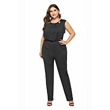 2e5c68bc7e2 Women  039 s Sexy Solid Color Sleeveless Jumpsuits-black