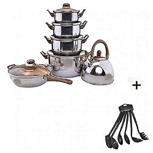 Set Of 6 Cooking Pot ,Fry Pan,Kettle + Free 6 Pieces Non-Stick Spoons